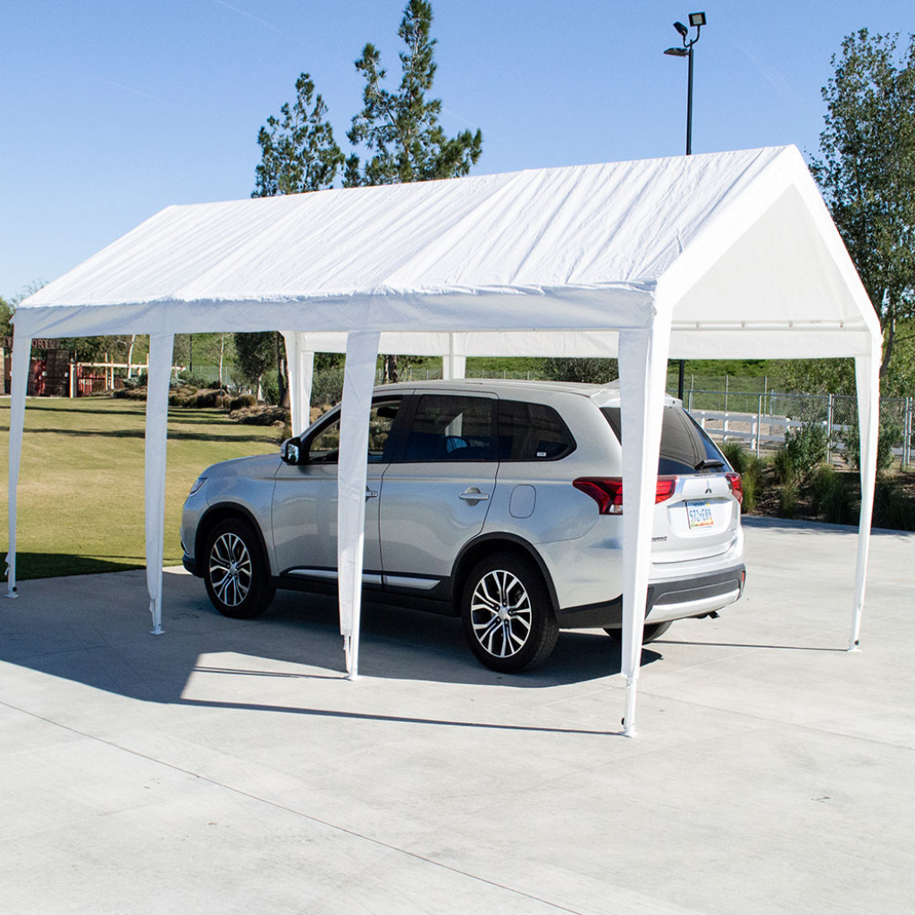 """10X20 8 Leg Portable Carport Outdoor Party Sun Shade Shelter  White  1  12"""" Frame Image Example for Carport Canopy 10X20"""