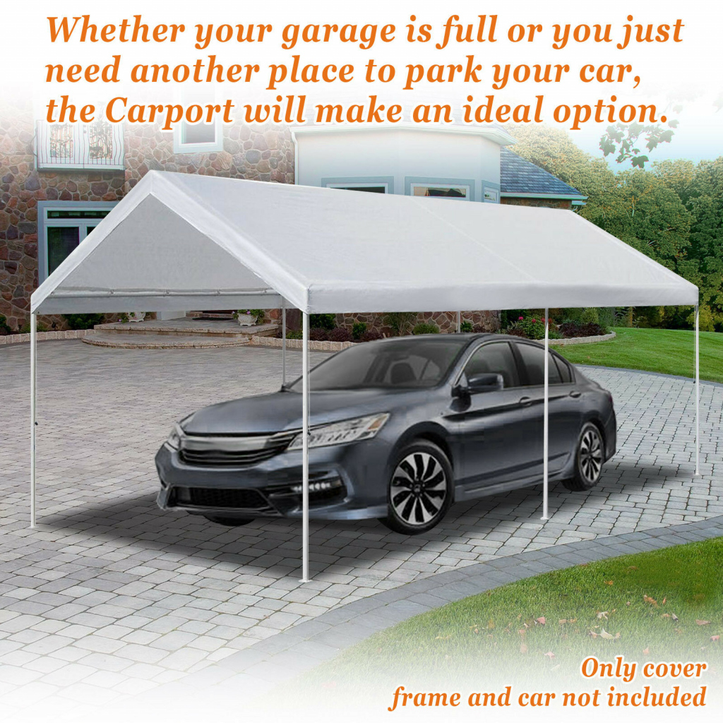10'x20' Carport Replacement Canopy Cover For Tent Top Garage Shelter Cover Facade Example of 10X20 Canopy Carport With Sidewalls Costco