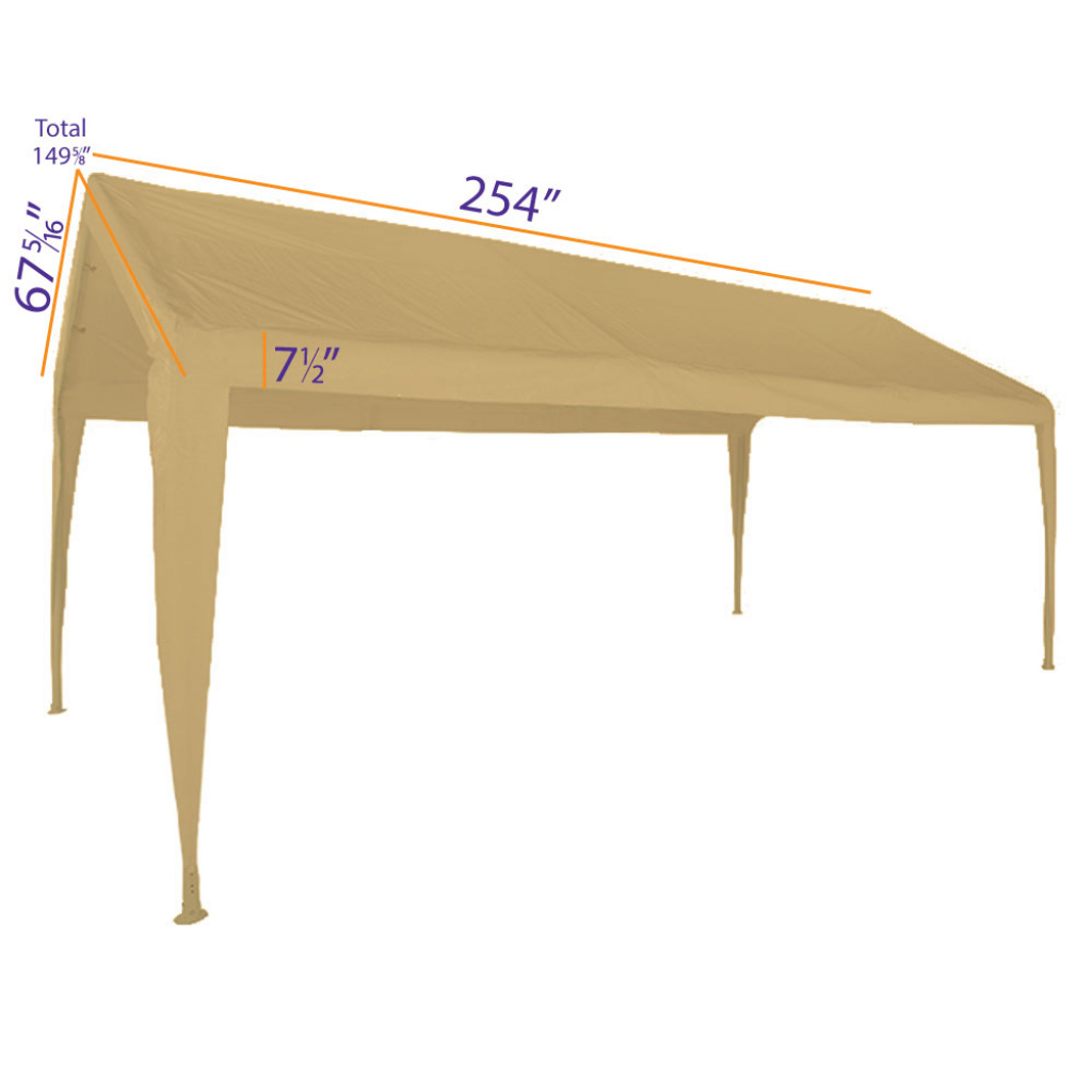 10X20 Portable Carport Garage Storage Tent Replacement Top Only  Tan With  Leg Skirts Image Example for Wood Carport With Storage