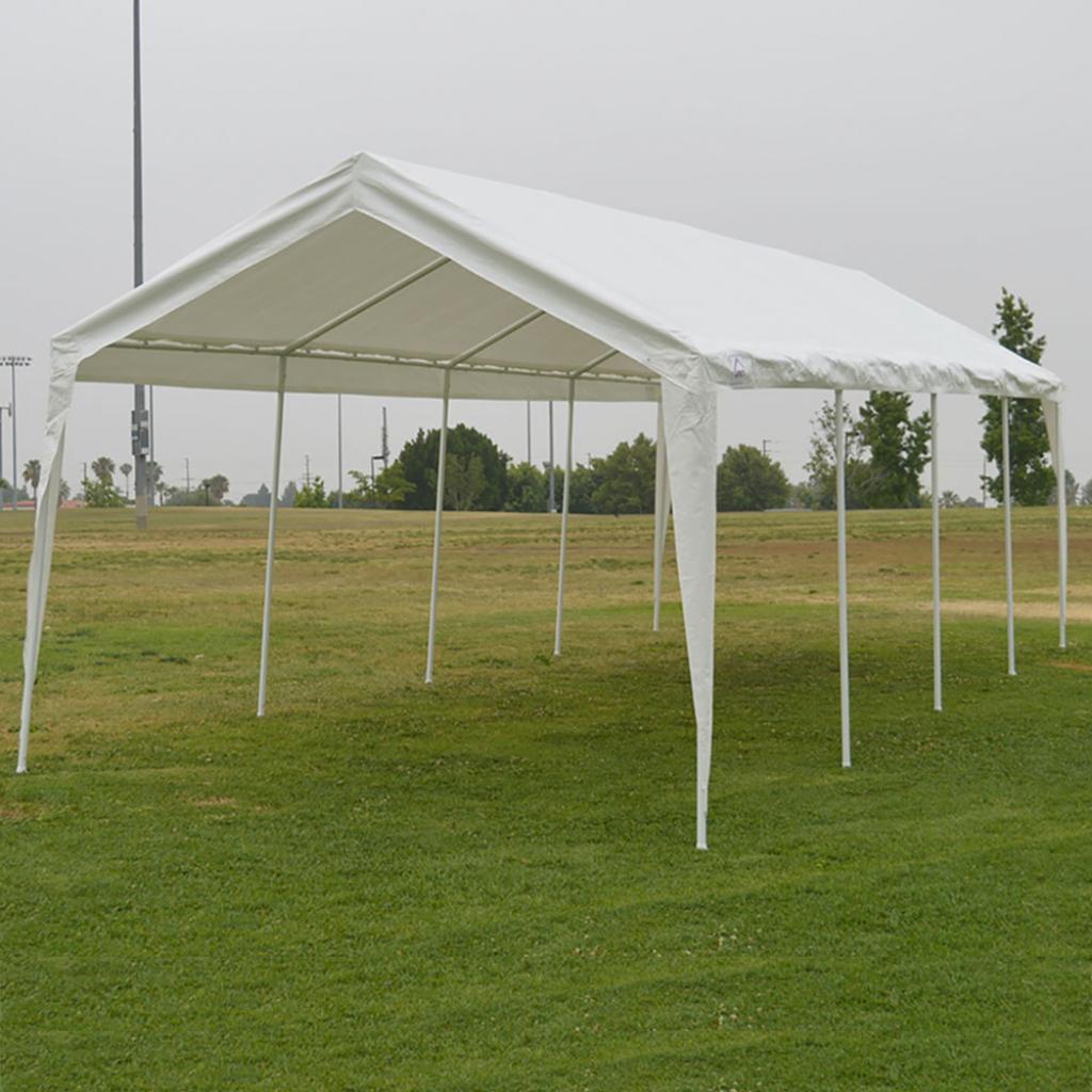 10X27 Garage Canopy Tent Impact Canopies Portable 10 Leg Outdoor Carport  Sun And Rain Shelter White Facade Example of Outdoor Canopy Carport