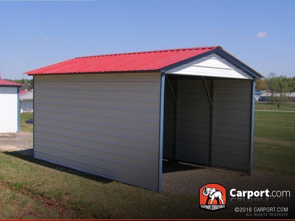 12' X 21' Vertical Roof 1 Car Metal Carport Facade Example for Close In Metal Carport