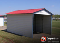 12' X 21' Vertical Roof 1 Car Metal Carport Facade Example in Metal Carport With Sides