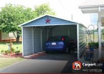 12X21 Single Car Carport Boxed Eave Roof Image Sample in 12X21 Metal Carport