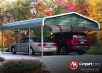 12X26 Carport For Single Car Regular Roof Facade Example in 12X26 Metal Carport