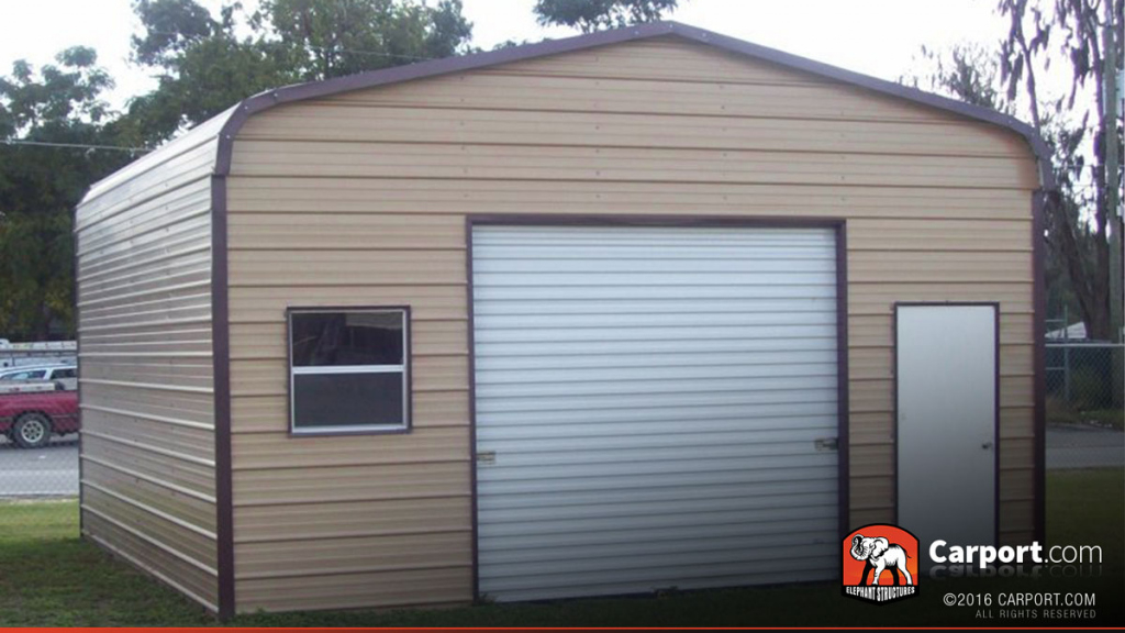 18' X 21' Metal Garage With Regular Roof Picture Sample for American Steel Carport Sales