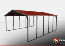 18' X 21' X 6' Sturdy Vertical Roof Metal Carport Photo Example in Metal Carport Vertical Roof
