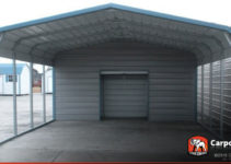 18' X 26' 2 Car Metal Carport Facade Example for 2 Car Steel Carport