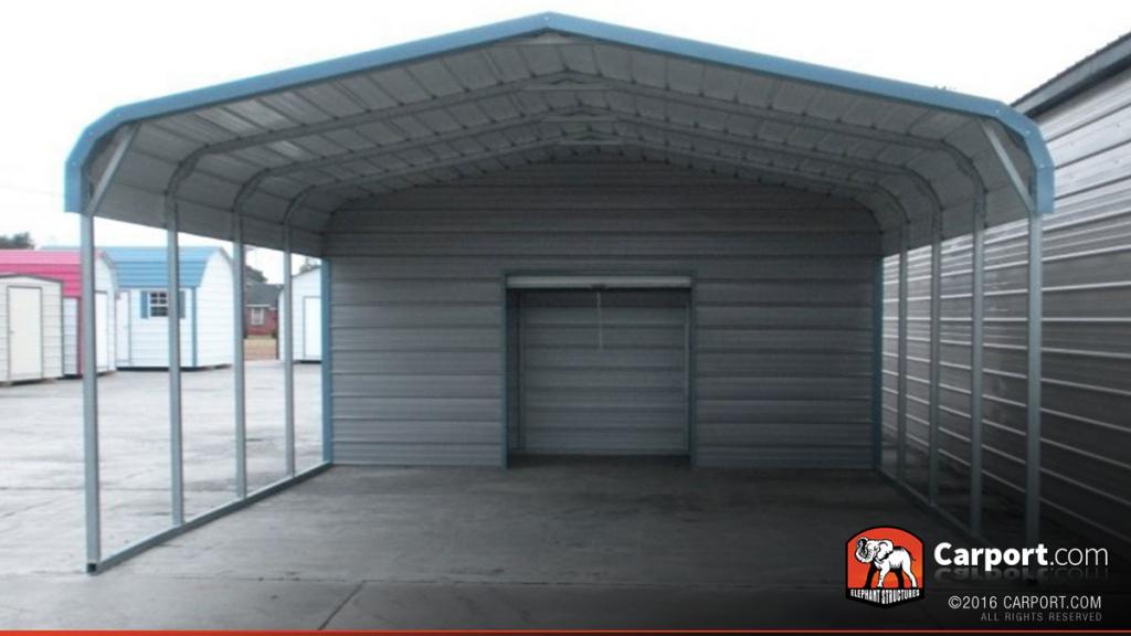 18' X 26' 2 Car Metal Carport Image Sample in Enclosed Metal Carport