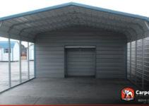 18' X 26' 2 Car Metal Carport Picture Sample in Enclosed Metal Carport Kits