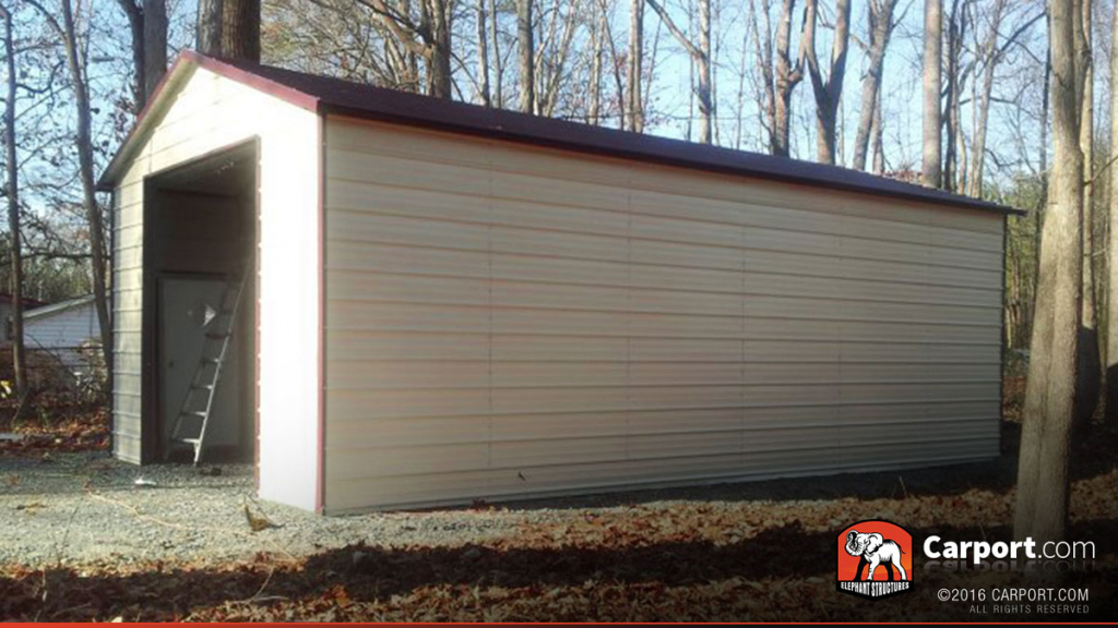 18' X 31' Metal Building With Large Garage Door Facade Sample of How To Turn A Metal Carport Into A Garage