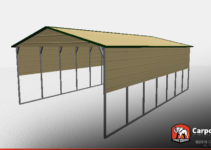 20' X 30' X 10' Boxed Eave Metal Carport Facade Sample of 30X20 Metal Carport