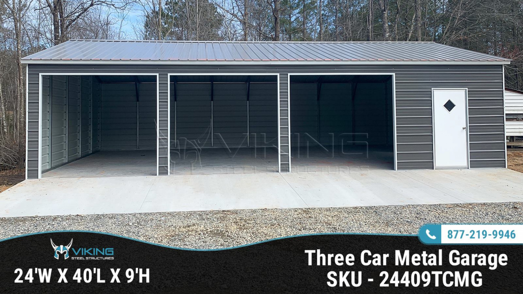 24X40X9 Three Car Metal Garage  Home Picture Sample for American Steel Carport Calculator