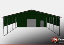 30' X 50' Storage Building With Vertical Roof Style Photo Example in 30X50 Metal Carport