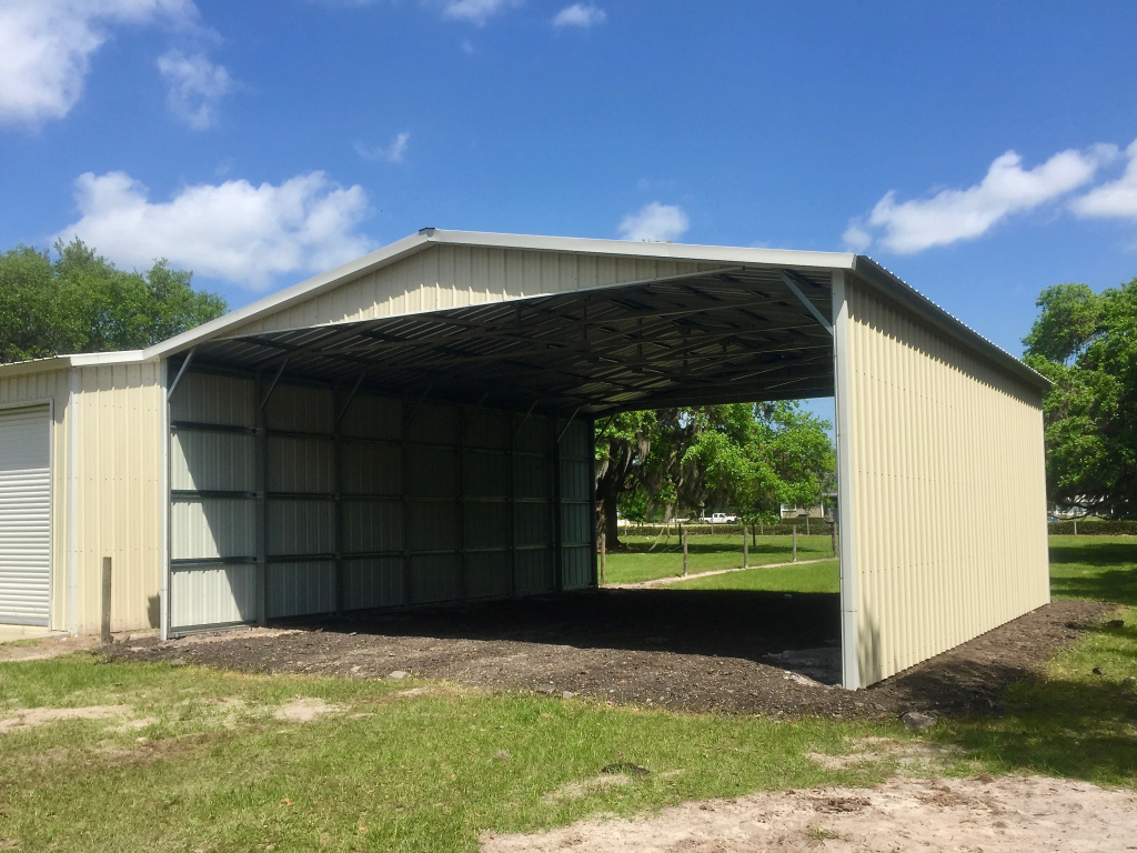 30X30 2Sided Carport  Central Florida Steel Buildings And Photo Sample in 30X30 Metal Carport