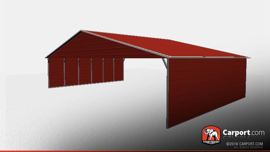 40' X 26' Durable Partially Enclosed Metal Carport Photo Sample of Enclosed Metal Carport