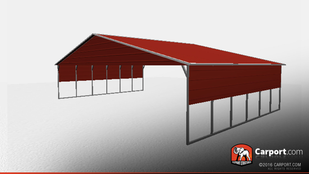40' X 26' Vertical Roof Metal Carport With Side Panels Photo Example of Metal Carport Panels