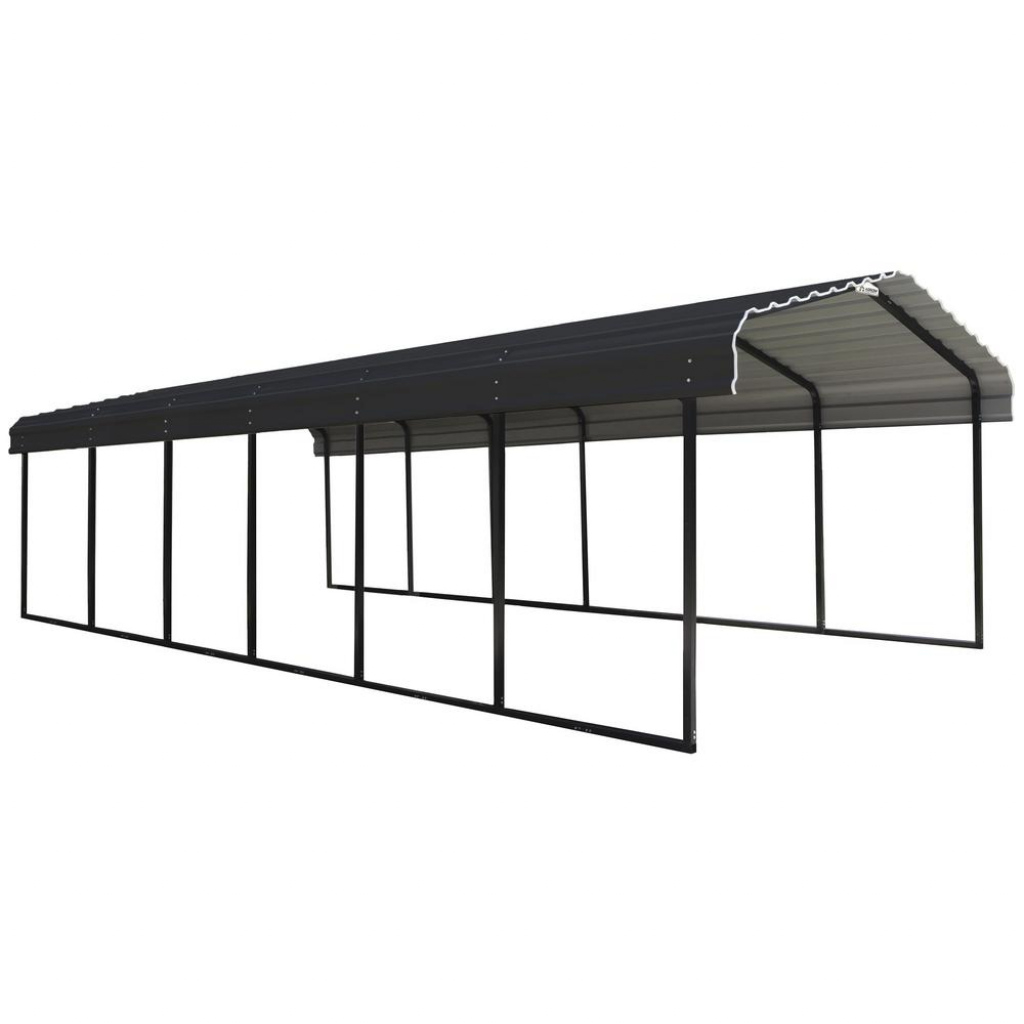 Arrow 12 Ft W X 29 Ft D Charcoal Galvanized Steel Carport Car Canopy And  Shelter Picture Example in How To Assemble A Metal Carport