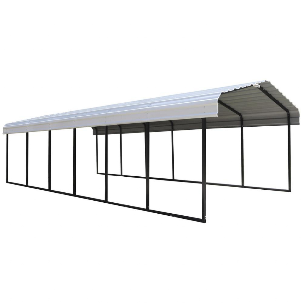 Arrow 12 Ft W X 29 Ft D Eggshell Galvanized Steel Carport Car Canopy And  Shelter Picture Example for How To Lift A Metal Carport