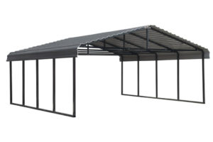 Arrow 20 Ft W X 20 Ft D Charcoal Galvanized Steel Carport Car Canopy And  Shelter Facade Example of Car Canopy Metal Carport