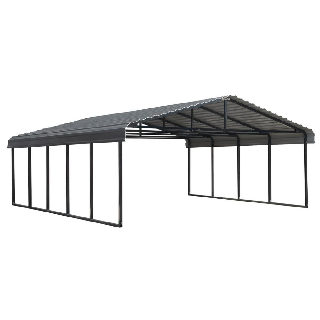 Arrow 20 Ft W X 24 Ft D X 7 Ft H Charcoal Galvanized Steel Carport Car  Canopy And Shelter Photo Sample in How To Assemble A Metal Carport
