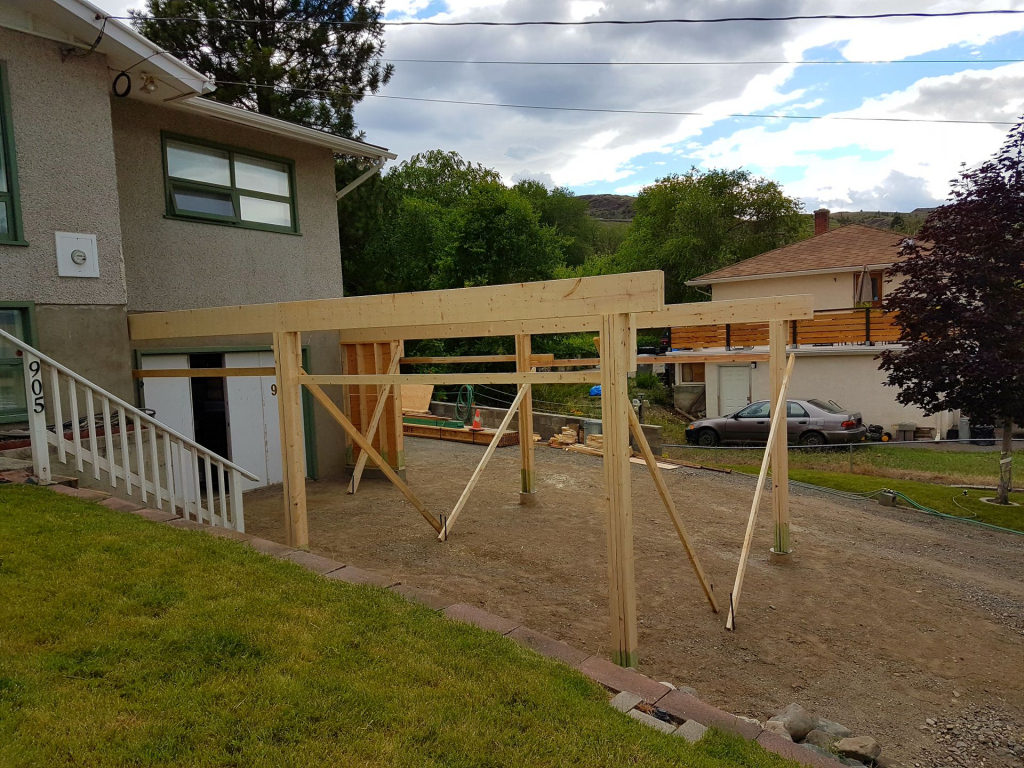 Attached Carport Build  Construction Picture Post Image Example in Build Attached Carport