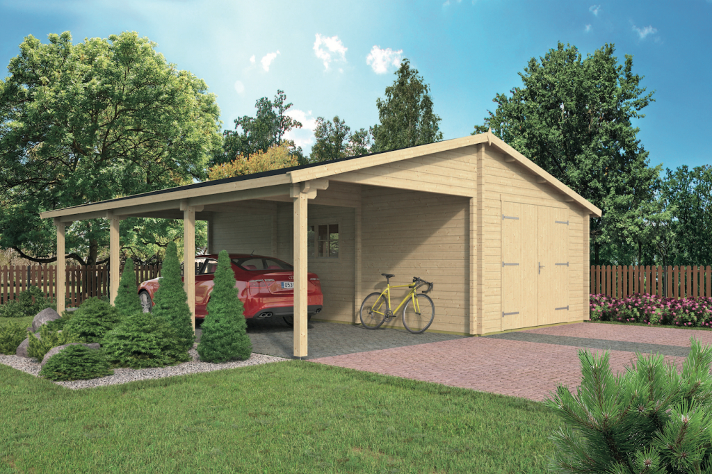 Blockhaus  Holzgarage Carport Berggren 765 X 830 X 331 Cm Facade Example in Garage And Carport