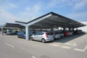 Bluetop Solar Parking  Opti System Facade Example in Commercial Solar Carport
