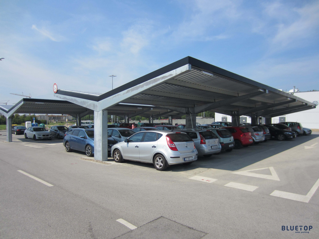 Bluetop Solar Parking  Opti System Facade Example in Commercial Solar Carport