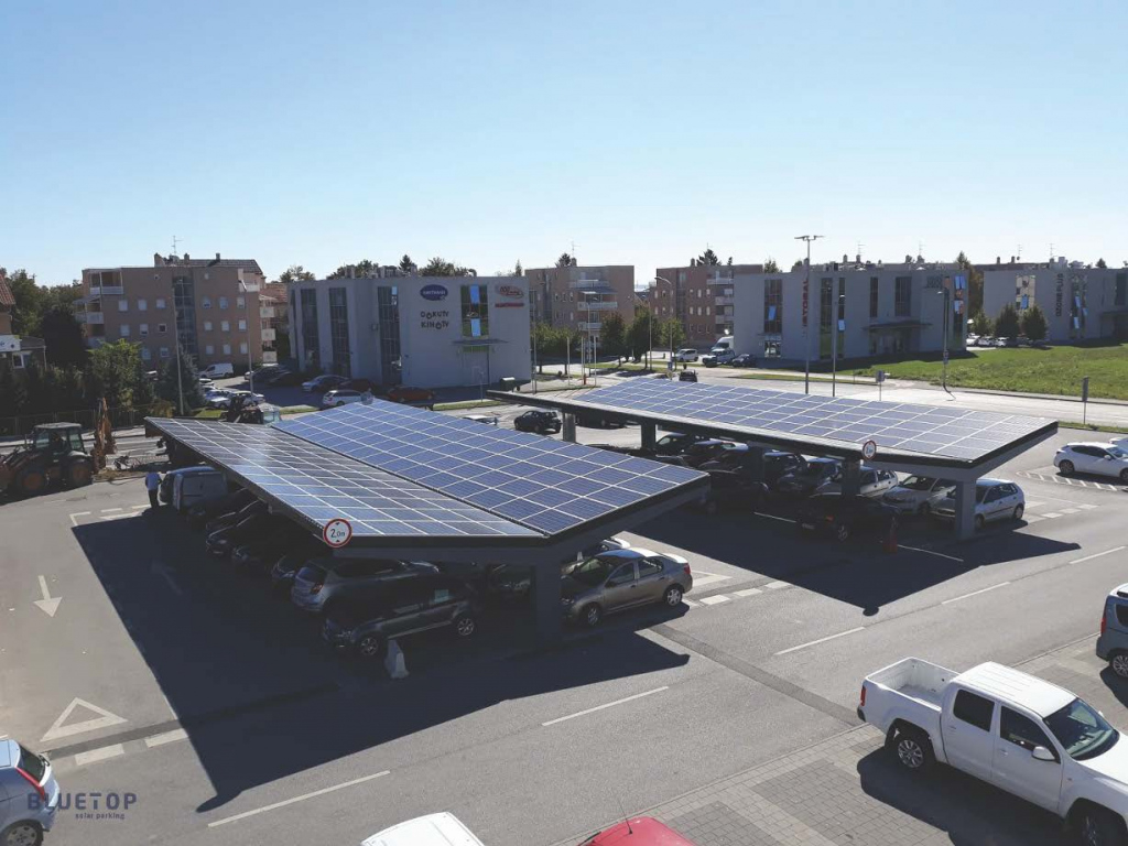 Bluetop Solar Parking  Opti System Facade Sample for Commercial Solar Carport