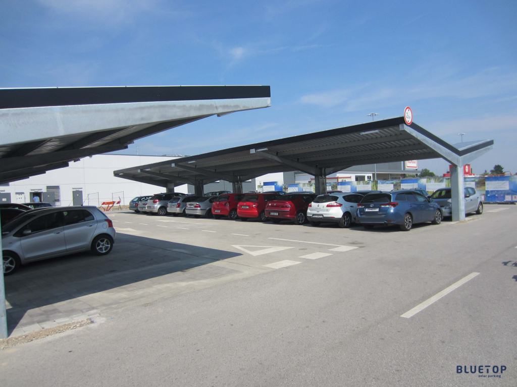 Bluetop Solar Parking  Opti System Picture Example in Commercial Solar Carport