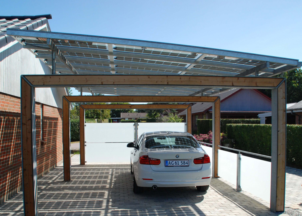 Bluetop Solar Parking  Portal System Picture Example for Solar Carport Residential
