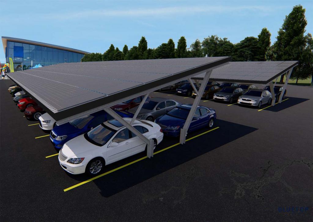 Bluetop Solar Parking  Tree System Image Sample for Commercial Solar Carport