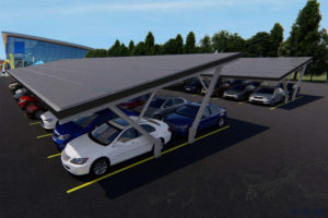 Bluetop Solar Parking  Tree System Picture Sample in Commercial Solar Carport Cost