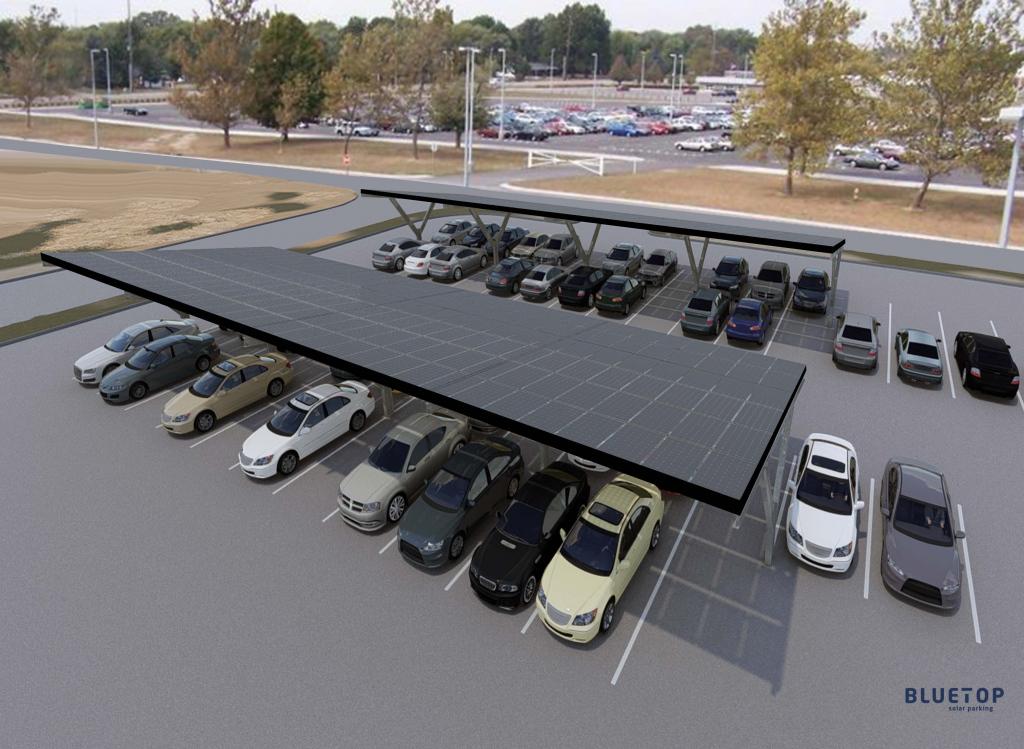 Bluetop Solar Parking  Ypsilon System Photo Example of Commercial Solar Carport
