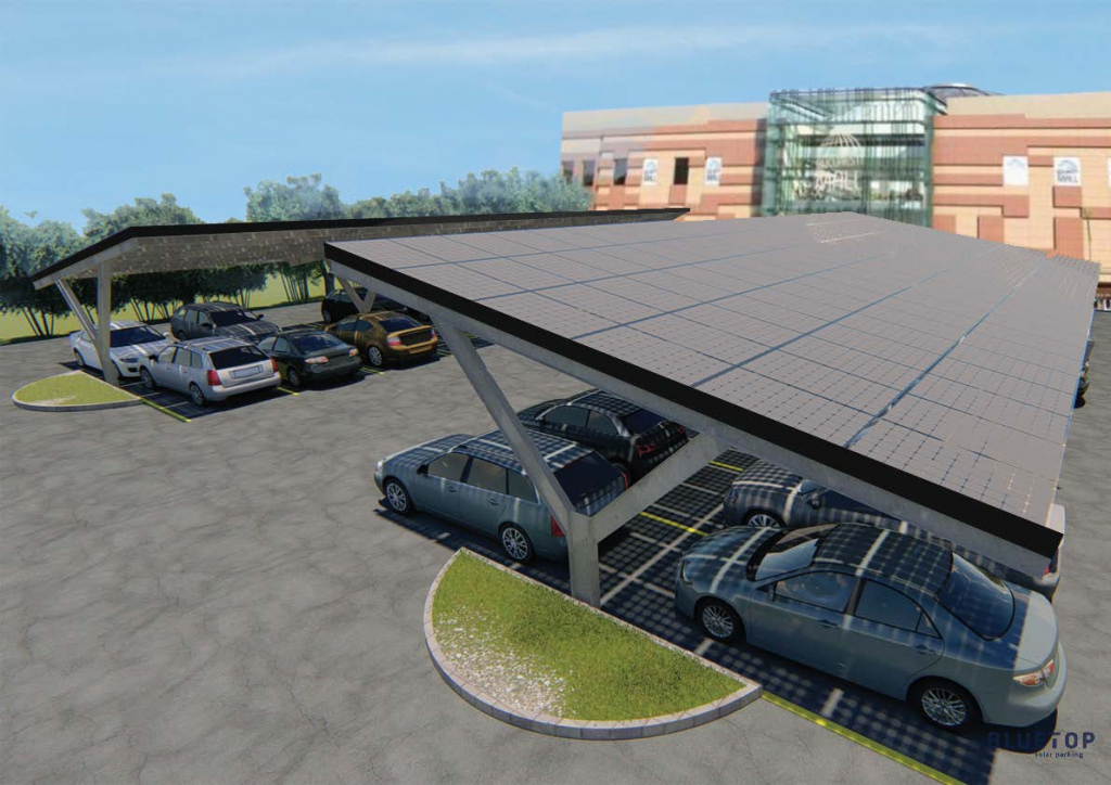 Bluetop Solar Parking  Ypsilon System Picture Example in Commercial Solar Carport