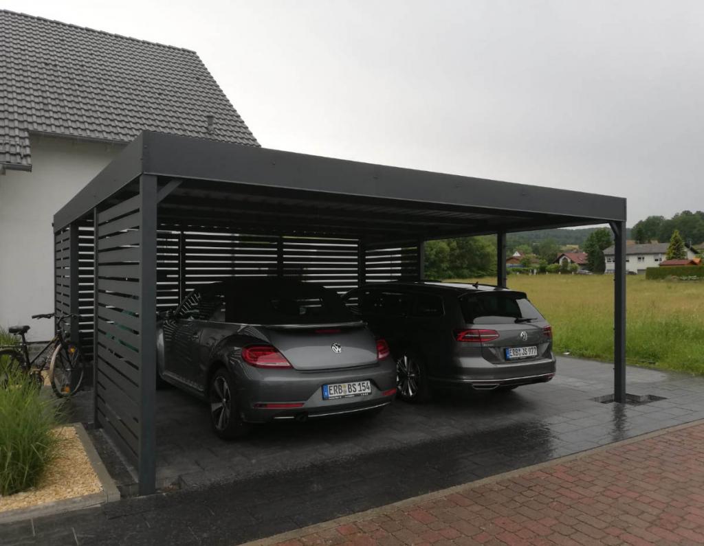 Carport 2 Sichtschutz 31  Marciniak Ogrodzenia Facade Sample for 3 Car Metal Carport