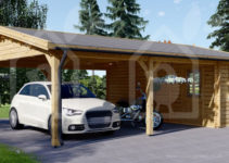 Carport Double 6X75 44Mm Wood Free Delivery Facade Example of Wood Carport With Shed