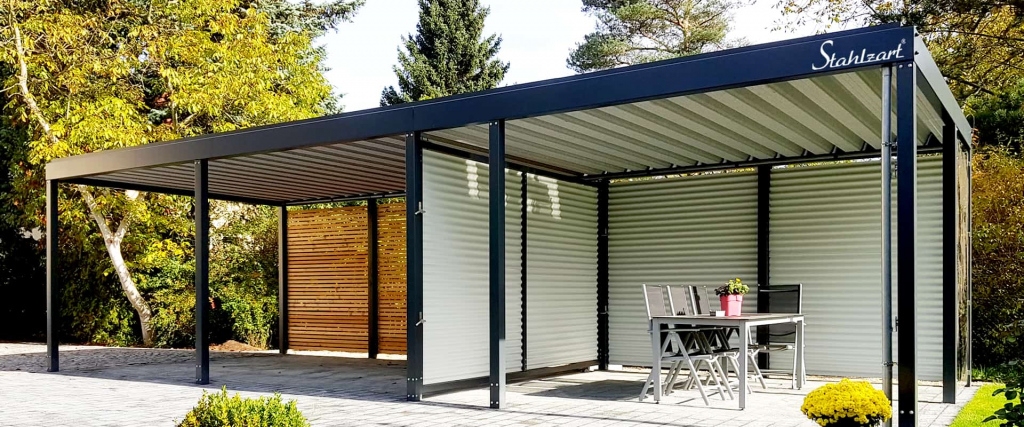 Carport Metall Doppelcarport Stahl Holz Kaufen Abstellraum Picture Example of Metal Carport With Shop