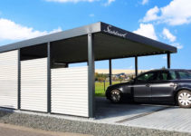 Carport Metall Stahl Würzburg · Flachdach · Abstellraum Picture Example for Modern Steel Carport