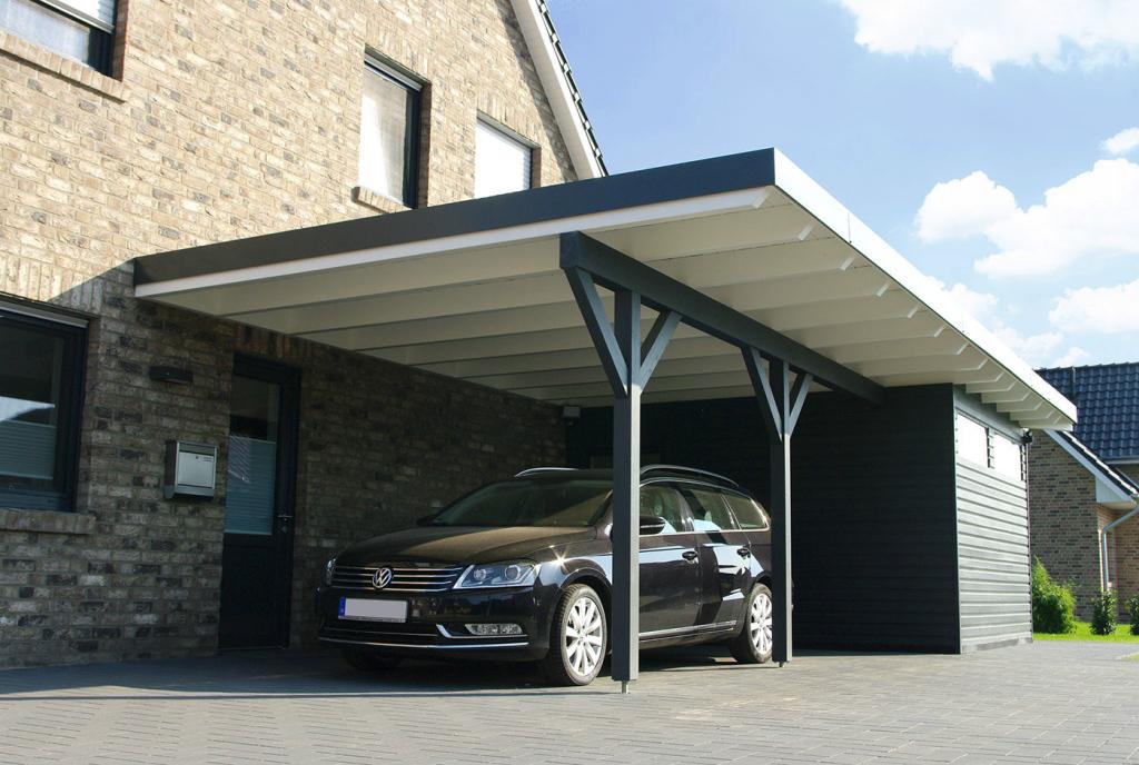 Carport Mit Flachdach Aus Holz Wandanbau Online Bestellen Picture Example in Large Metal Carport