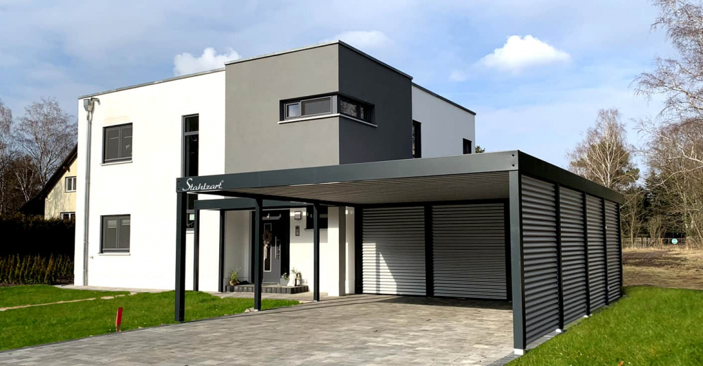 Carport Modern Prag · Haus Anbau · Flachdach Design · Stahlzart Picture Sample of Modern Carport Designs