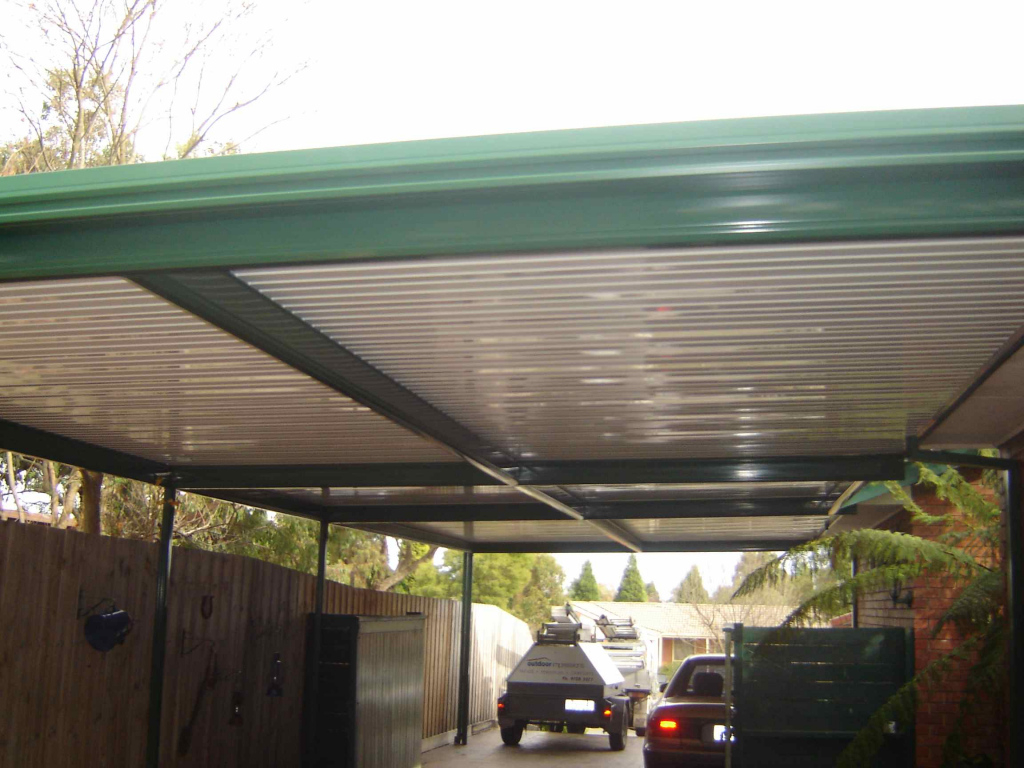 Carports Flat Roof Carport With Caulfield Green Metal Picture Example for Flat Roof Metal Carport Kits