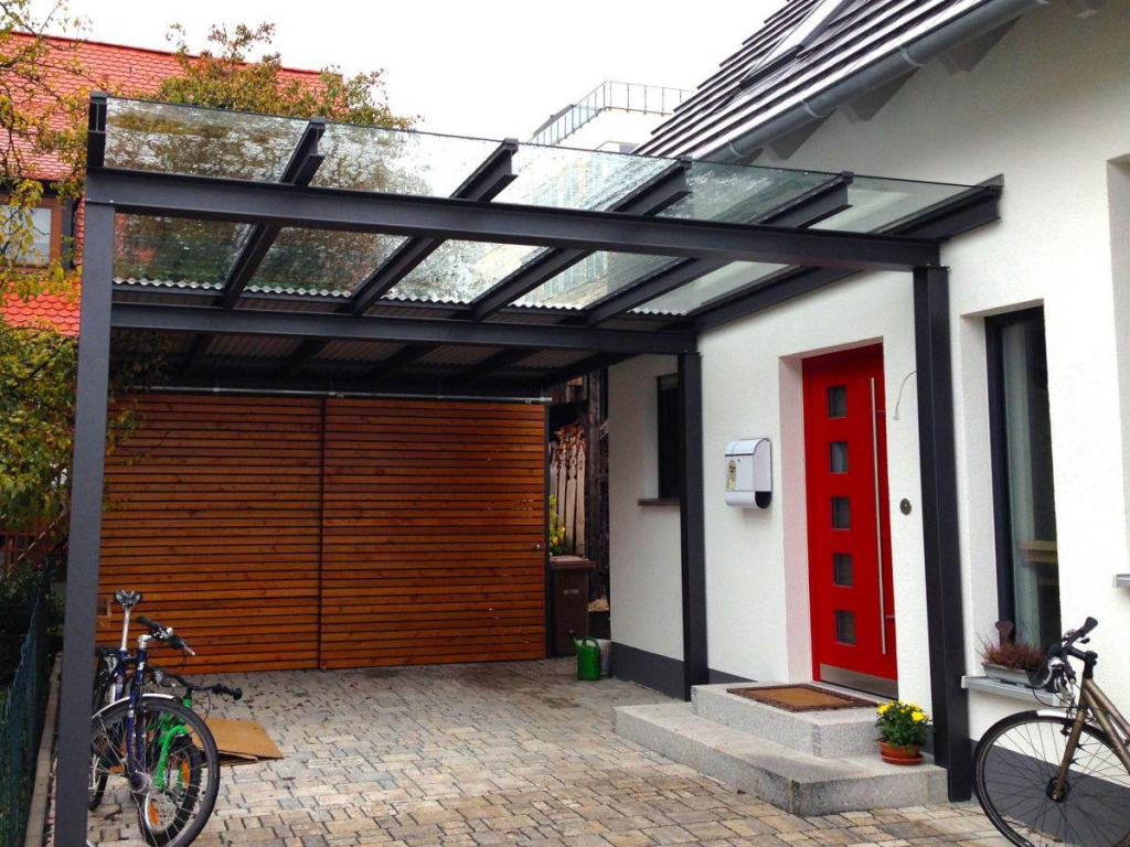 Carports  Stahl In Form Facade Example of Metal Carport Frame Components