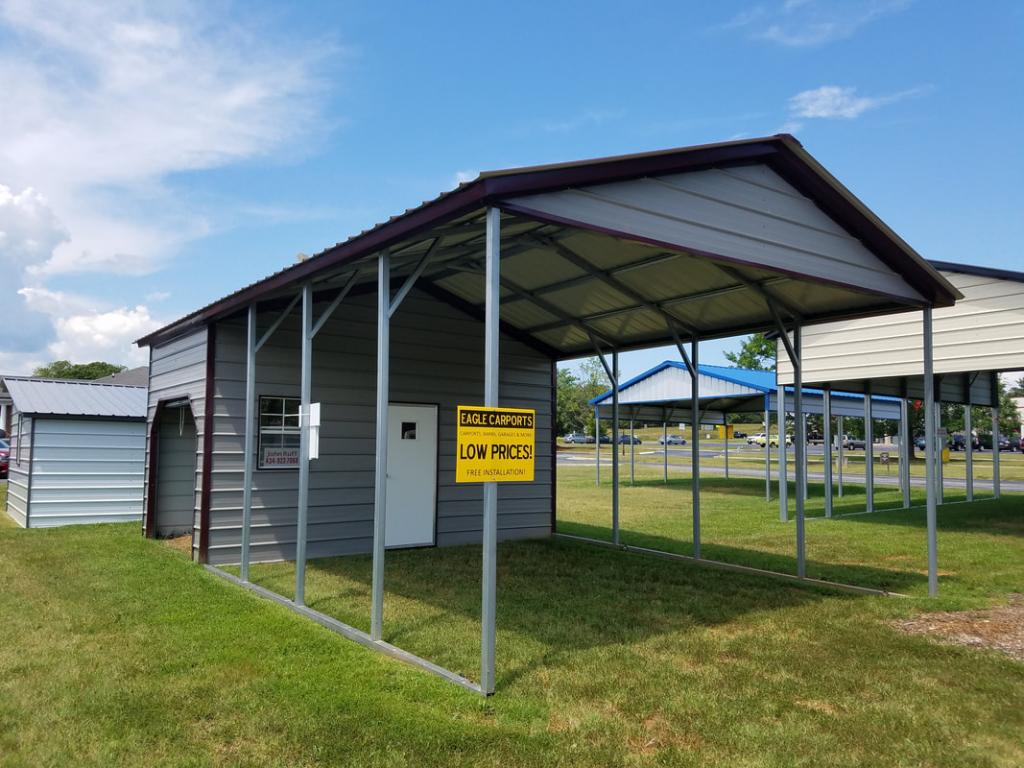 Certified Metal Buildings  Certified Metal Buildings Facade Example in Combo Garage Carport