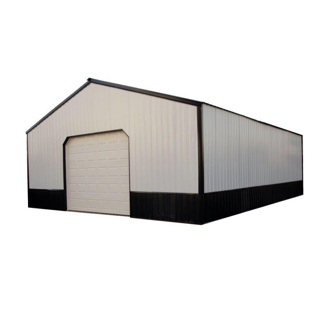 Charlotte 40 Ft X 50 Ft X 12 Ft Wood Pole Barn Garage Kit Without Floor Facade Sample in Wood Carport Kits Canada
