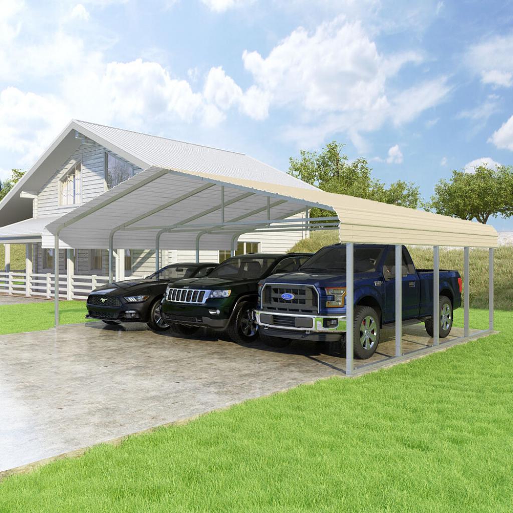 Classic 24 Ft X 18 Ft Canopy Facade Sample in Versatube Steel Carport
