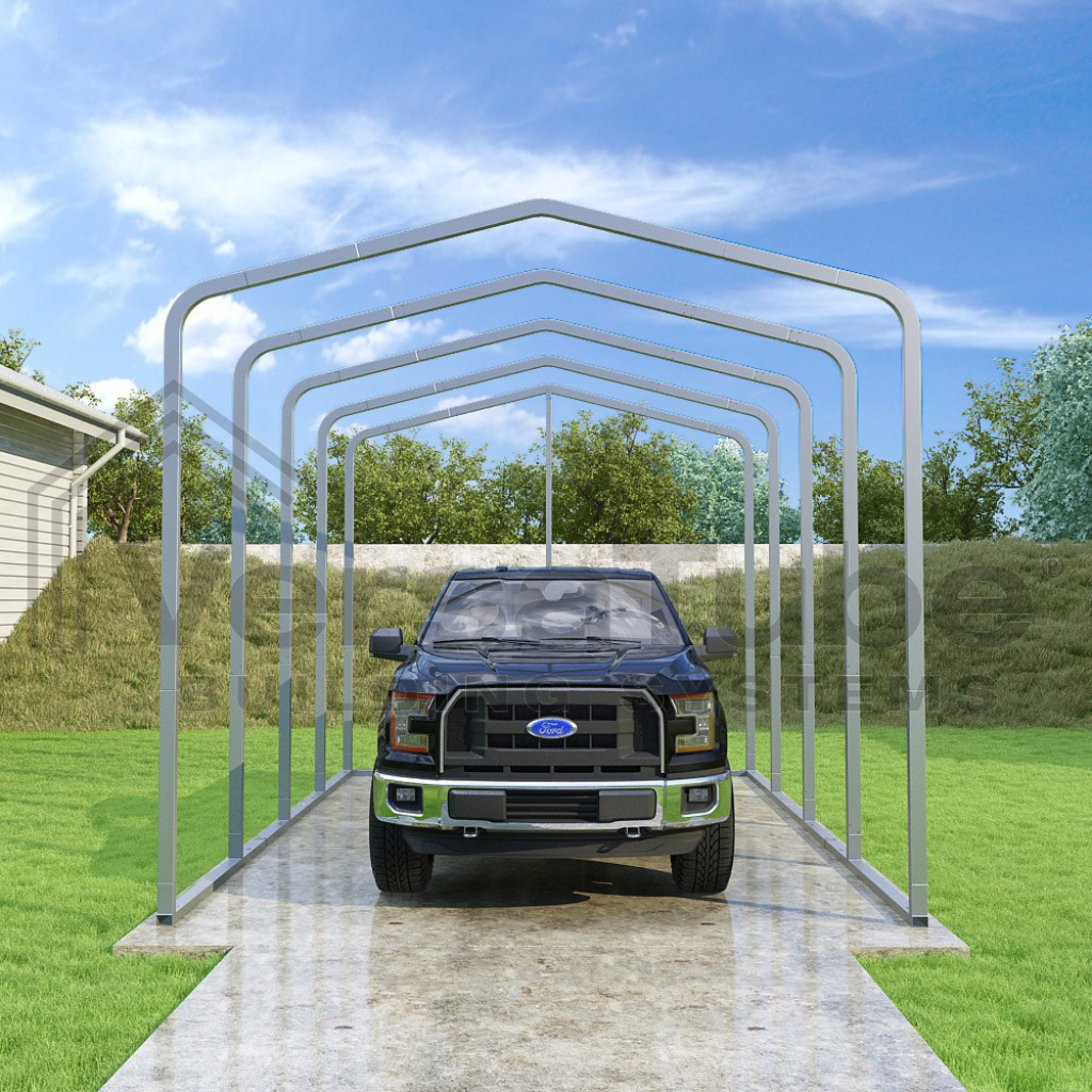 Classic Carport  Frame Only  12'w X 18'l X 10'h Image Example for Metal Carport Frame Kits