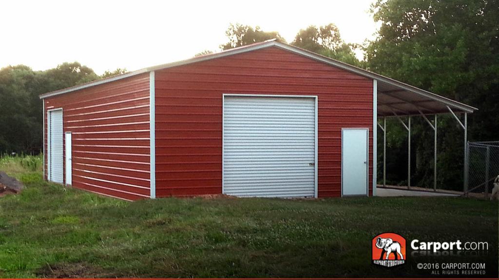 Custom Valley Barn 30' Wide X 31' Long X 9' High Image Example of Metal Carport Barn