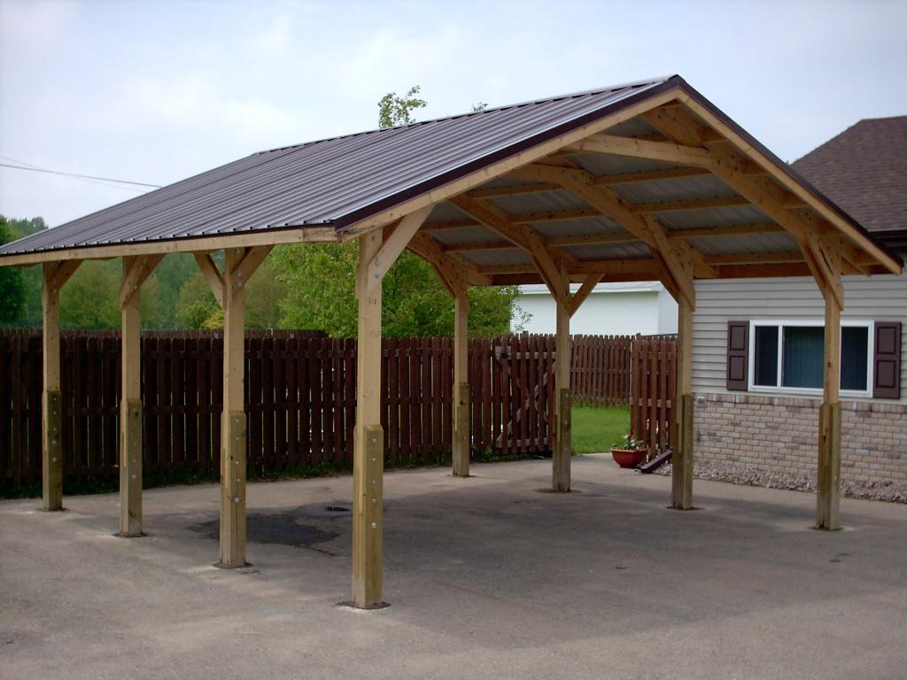 Decorating Wood Carport Canopy With Aluminum Roof For Photo Sample of Garage Carport Ideas