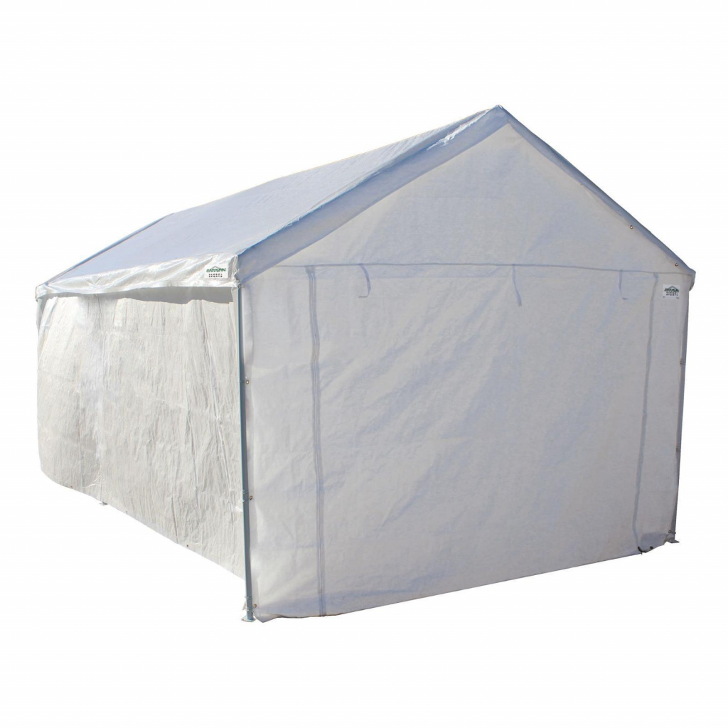 Details About 10 X 20 Portable Domain Carport Garage Side Wall Car Shelter  Canopy Tent White Image Example for Portable Enclosed Carport